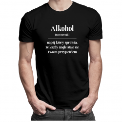Alkohol - męska koszulka z nadrukiem