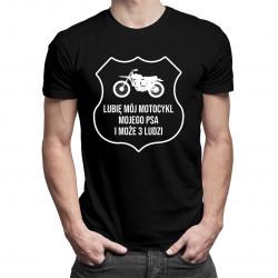 Lubię mój motocykl, mojego psa i może 3 ludzi- męska koszulka z nadrukiem