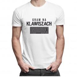 Gram na klawiszach - męska koszulka z nadrukiem